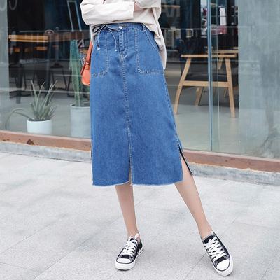加大码女装口袋牛仔裙半身裙春女2018新款宽松系带中长款开叉裙
