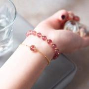 旺姻缘招桃花草莓晶粉色水晶手链