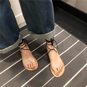 027#亚博娱乐平台入口!实价!chic韩风透明绑带凉鞋 两色入
