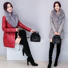 1789#皮羽绒服女2017新款皮衣中长款大码韩版皮草修身外套