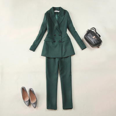 Kích thước lớn của phụ nữ 2018 mùa xuân mới olive màu xanh lá cây Mỏng đôi ngực dài phù hợp với 9 điểm thẳng quần phù hợp với Business Suit