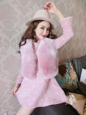 女装仿皮草马甲+花朵刺绣盘扣毛呢旗袍连衣裙两件套#4542(实拍)