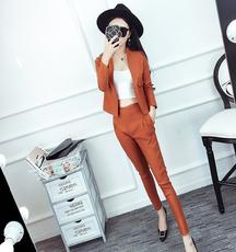 2018韩版时尚小清风修身上衣+高腰修身铅笔裤套装#4746实拍
