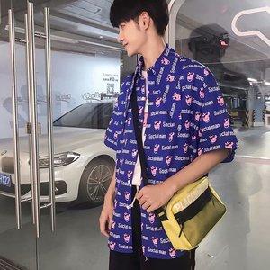 Phong cách Harajuku Hàn Quốc ulzzang piglet letter in cổ áo thắt nút lỏng ngắn tay áo sơ mi BF áo triều mùa hè