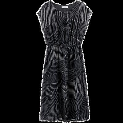 [Giá mới 99 nhân dân tệ] 2018 mùa hè hình học in đàn hồi eo ngắn tay váy dài đầm voan nữ Sản phẩm HOT
