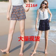 2116#民族风波西米亚印花沙滩裤泰国花裤短裤女