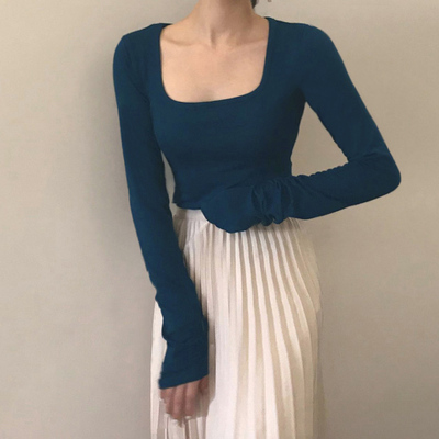 taobao agent French retro haze blue blouse women's wild short long-sleeved bottoming knitting 2021 new spring and autumn women's clothing trend
