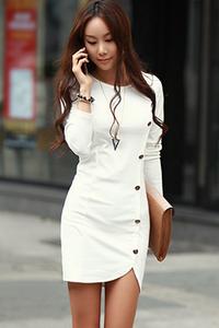 5103#韓版春裝新款 長袖連衣裙 包臀裙