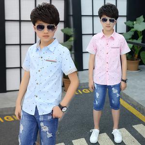 Chàng Trai mùa hè Ngắn Tay Áo Top 12 Cậu Bé Lớn Cotton Boy Con Hàn Quốc Áo Sơ Mi 15 Năm Mùa Hè 13 Hàn Quốc Phiên Bản