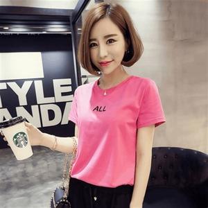 6430#2016夏季新款女装韩版短袖字母印花时尚百搭T恤打底衫女上衣