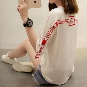 1900#实拍夏季上衣短袖t恤女白色2017新款韩版宽松百搭衣服体恤