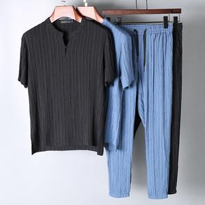 2018 mới ngắn tay phù hợp với nam giới sọc xếp li mỏng vải mùa hè đứng cổ áo của nam giới thường thể thao phù hợp với