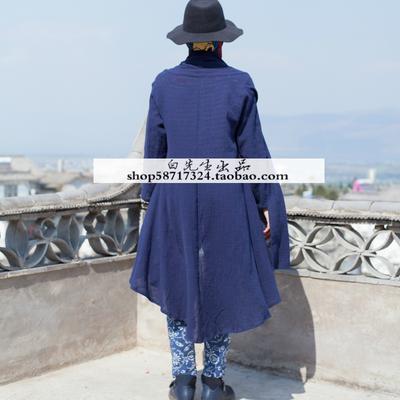 Giải phóng mặt bằng khuyến mãi mùa xuân và mùa hè phần mỏng lỏng kích thước lớn bông và vải lanh nếp gấp Trung Quốc phong cách dài áo sơ mi nam giới và phụ nữ Zen áo gió áo khoác Áo gió