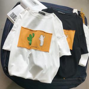 2018年夏季新款港风平铺小清新宽松短袖T恤百搭半袖衫T恤T95-P40