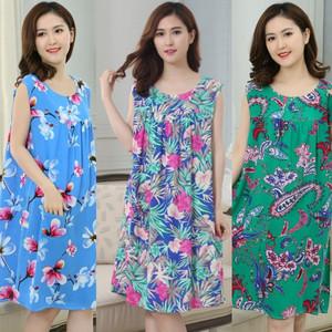 Mùa hè bông nhân tạo nightdress phụ nữ ăn mặc bông lụa đồ ngủ trung niên không tay bông xl mỏng nightdress