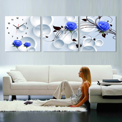 Modern living room decorative painting triptych Clock paintings silent murals bedroom frameless wall clock mute roses