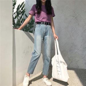 Dora Chaoren Hall Hong Kong hương vị retro chic cao eo lỏng mỏng củ cải hình jeans thẳng chín quần phụ nữ