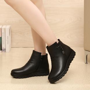 冬季女士棉鞋短靴加绒舒适防滑保暖软底