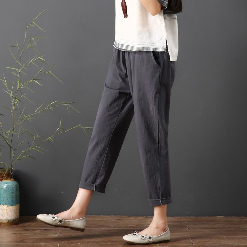 2018 mùa hè mới kích thước lớn bông và vải lanh hậu cung quần phụ nữ lỏng lẻo thường lanh chín quần là mỏng chân cà rốt quần