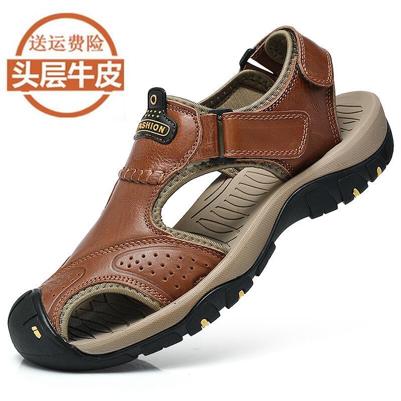 Paul Lạc Đà Dép Da của Nam Giới Bao Đầu Giày Bãi Biển 2018 Mùa Hè Mới Da Ngoài Trời Thoáng Khí Giày Thường