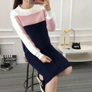 韩版时尚新款针织衫毛衣裙子两件套