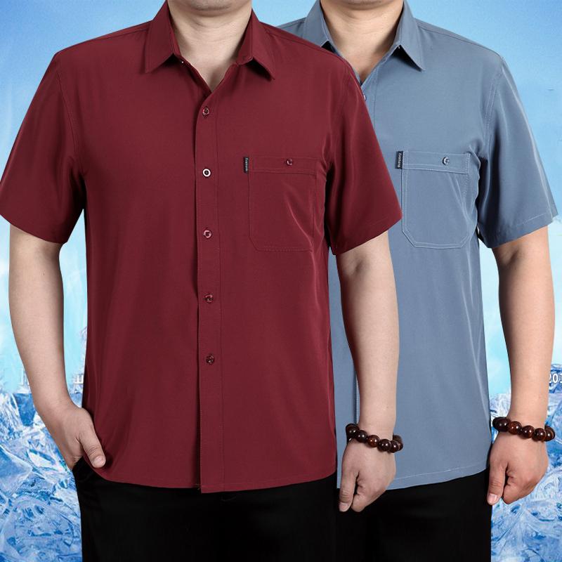 Mùa xuân và mùa hè người đàn ông trung niên của XL ngắn tay không-sắt áo sơ mi phần mỏng silk silk silk daddy áo sơ mi