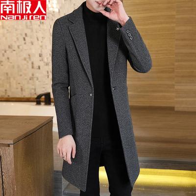 南极人秋冬装单排扣毛呢大衣男士韩版潮流中长款修身呢子风衣外套