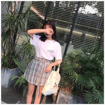 实拍~实价韩版字母刺绣短袖t恤+格子阔腿裤两件套套装5023#