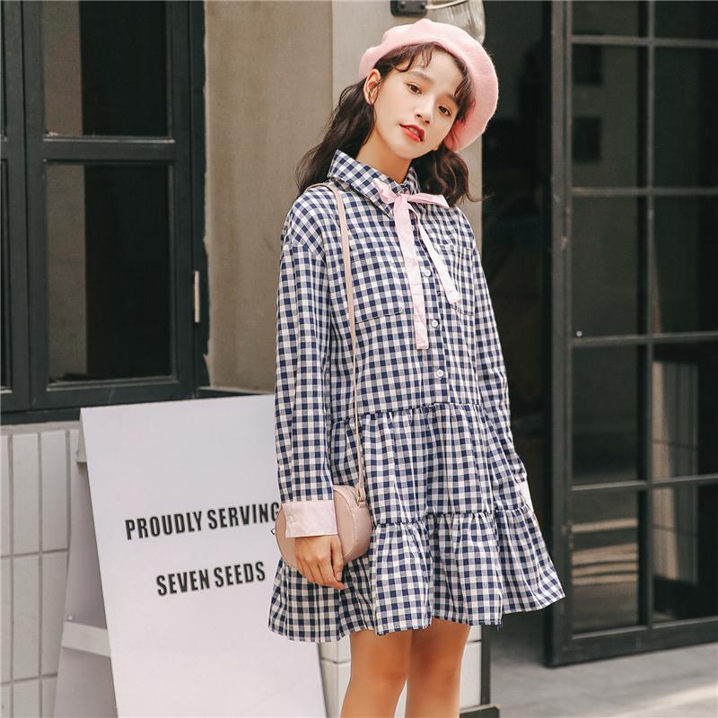 实拍 2018秋装新款女装长袖韩版格子裙宽松裙子连衣裙女学生 1026