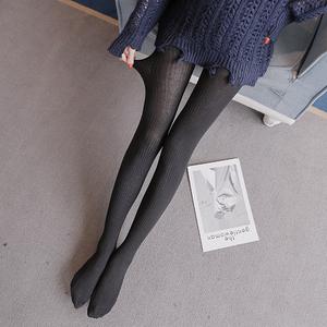实拍春秋新款显瘦连脚打底裤竖条纹针织袜裤长裤#361