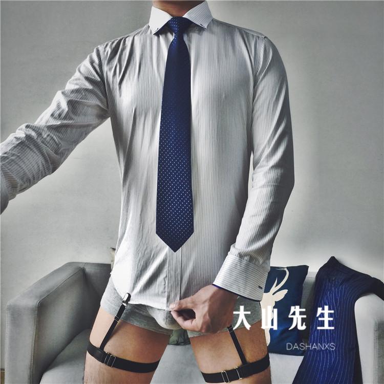 New unisex dress trắng cổ áo sơ mi phù hợp với áo sơ mi chống nhăn áo chống trượt clip sexy garter