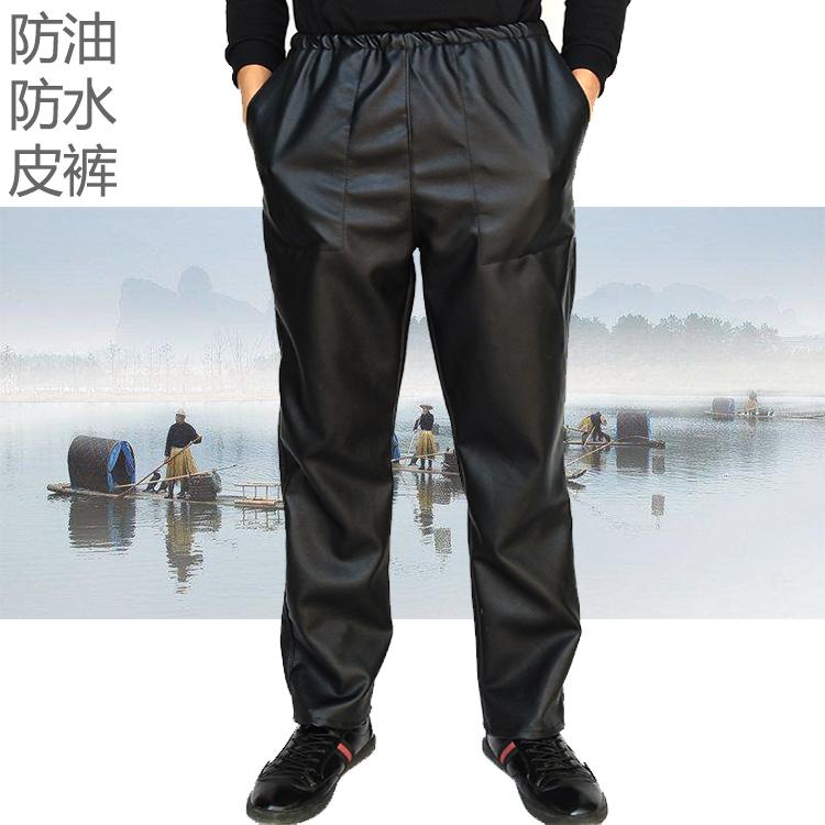 Của nam giới quần da trung và cũ tuổi lỏng thường mỏng phần cộng với nhung dày đầu máy windproof ấm dầu-proof không thấm nước làm việc quần