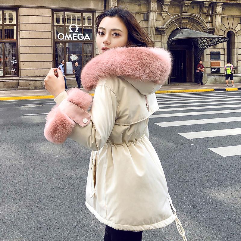 【妮大大】时尚新款派克风大毛领羽绒服