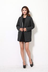 欧洲站秋冬韩国新款羊毛呢子大衣女中长款西装领显瘦气质外套包邮