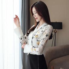 现货+实拍2019早春新款长袖飘带领雪纺衬衫印花女衬衣百搭显瘦