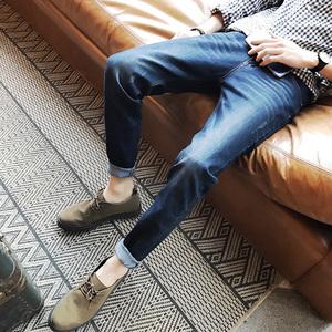 春秋男士牛仔裤韩版修身型学生裤子男装休闲小脚牛仔长裤潮裤子
