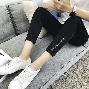 夏季新款男士黑色牛仔小脚裤学生韩版修身型英伦时尚牛仔九分裤薄