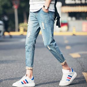 夏季新款牛仔裤小脚九分裤男装学生裤青年韩版修身型破洞乞丐裤潮