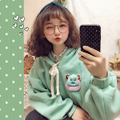 42agent Autumn and winter Korea chic cute girl mint green monster plus velvet thick loose BF long sweater - Taobao