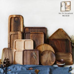Phong cách nhật bản khay gỗ khay gỗ rắn khay trà hình chữ nhật elm khay khay trà bánh mì đĩa trái cây tráng miệng món ăn bằng gỗ