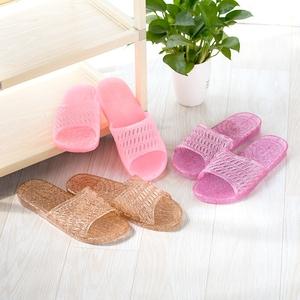 Mùa xuân và mùa thu nhựa pha lê dép nữ mùa hè phòng tắm tắm chống trượt khử mùi dép và trong suốt phẳng- đáy nhà giày