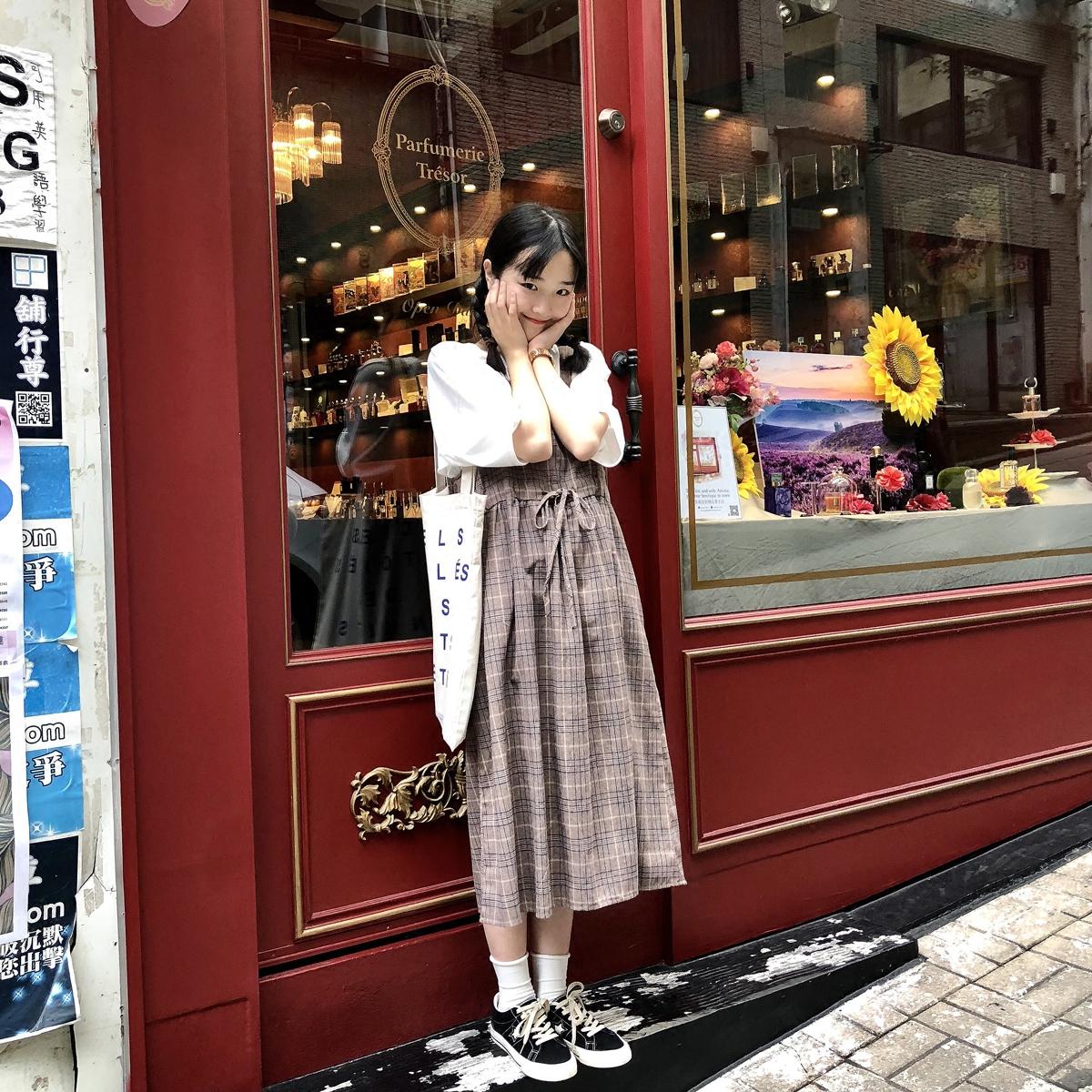 Yuki Xiaoshu nhà lão hóa bông thoải mái kẻ sọc dây đeo váy dài váy korea mới q0307