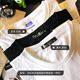 [Hàng ngày đặc biệt] màu vòng cổ dài tay áo bông TEE màu đen và trắng áo tay lỡ nam Áo phông dài
