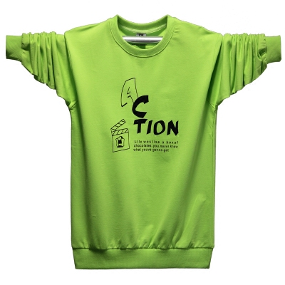 Teen nam dài tay T-Shirt mùa thu thể thao vòng cổ của nam giới kích thước lớn bông lỏng mùa thu phần mỏng áo sơ mi