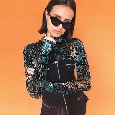 欧洲站秋冬女装新款时尚迷彩蛇纹三角连体衣女修身长袖T恤潮