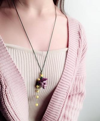 花宿手作 树莓项链女叶子毛衣链纯手工制作 文艺复古甜美清新百搭
