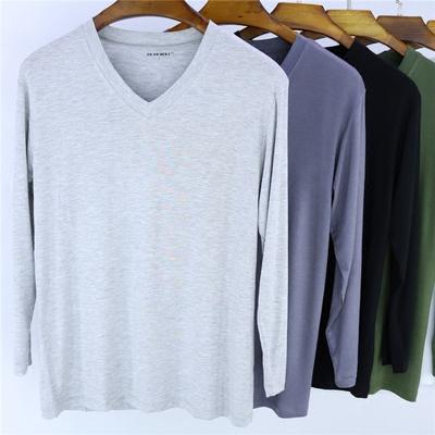 Phương thức v-cổ dài tay t-shirt nam mùa hè và mùa thu phần mỏng màu rắn đáy áo cộng với chất béo kích thước lớn cotton vòng cổ mùa thu quần áo áo tay lỡ nam Áo phông dài