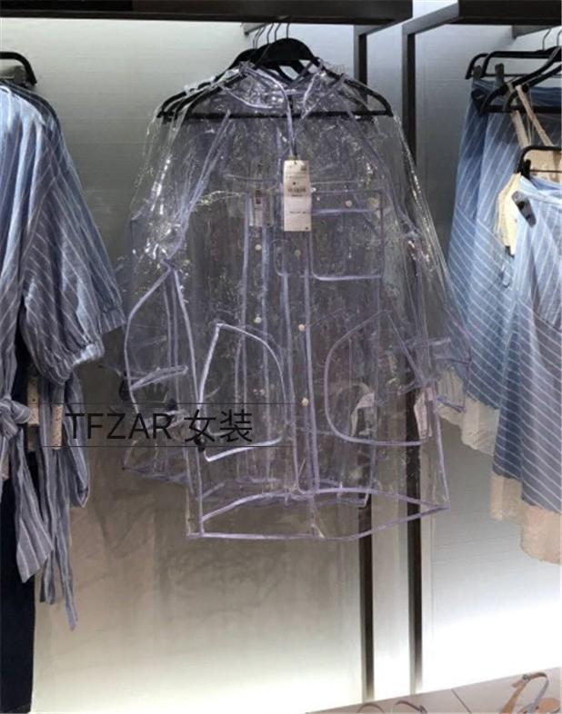 2018 Châu Âu và Hoa Kỳ mùa xuân lớn và mùa hè mới không thấm nước trong suốt PVC trùm đầu áo mưa áo khoác nữ lỏng lẻo dài trench coat