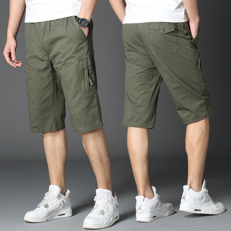 Mùa hè cắt quần nam quần short giản dị trung niên bông bãi biển quần quần lớn thể thao lỏng lẻo quần yếm
