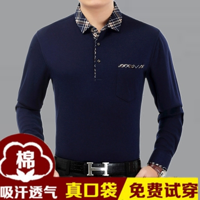 2017 mùa xuân mới trung niên nam dài tay t-shirt cotton trung niên quần áo 40-50 năm tuổi cha nạp mùa thu áo phông dài Áo phông dài